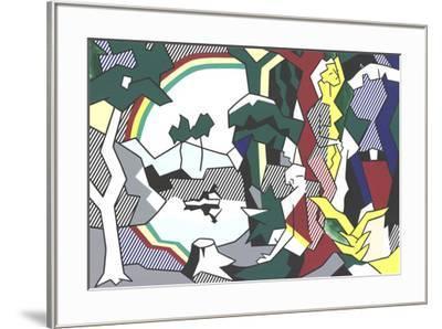 Landscape With Figures and Rainbow (No Text)-Roy Lichtenstein-Framed Premium Edition