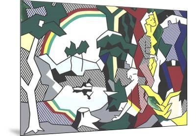 Landscape With Figures and Rainbow (No Text)-Roy Lichtenstein-Mounted Premium Edition