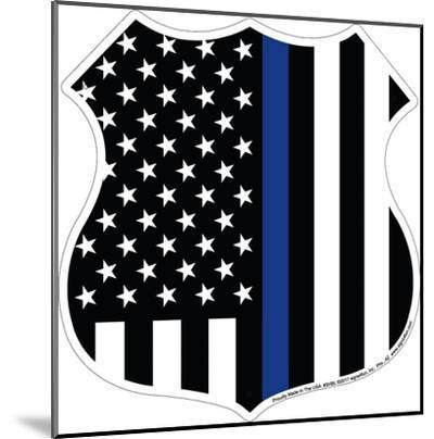 Thin Blue Line--Mounted Tin Sign
