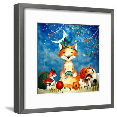 Sleepy Fox In Autumnal Forest--Framed Art Print