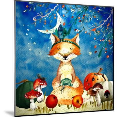 Sleepy Fox In Autumnal Forest--Mounted Art Print