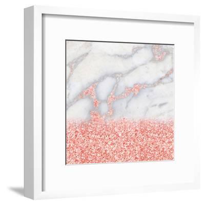 Shiny Rose Gold Blush Glitter On Marble--Framed Art Print