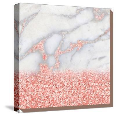 Shiny Rose Gold Blush Glitter On Marble--Stretched Canvas Print
