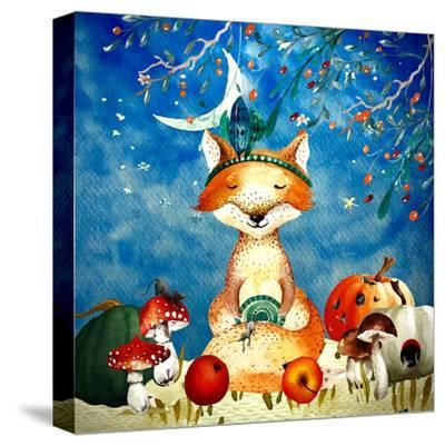 Sleepy Fox In Autumnal Forest--Stretched Canvas Print
