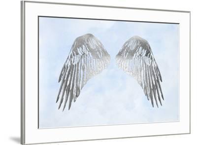 Silver Foil Wings I on Blue Wash-Grace Popp-Framed Art Print