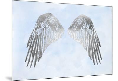 Silver Foil Wings I on Blue Wash-Grace Popp-Mounted Art Print