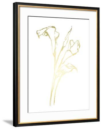 Gold Foil Floral Ink Study IV-Ethan Harper-Framed Art Print