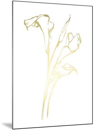 Gold Foil Floral Ink Study IV-Ethan Harper-Mounted Art Print