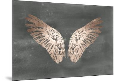 Rose Gold Foil Wings II on Black Wash-Ethan Harper-Mounted Art Print