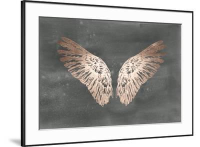 Rose Gold Foil Wings II on Black Wash-Ethan Harper-Framed Art Print
