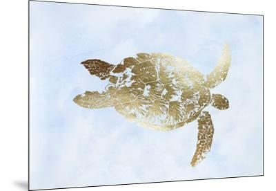 Gold Foil Sea Turtle I on Blue Wash-Grace Popp-Mounted Art Print