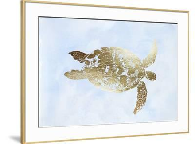 Gold Foil Sea Turtle I on Blue Wash-Grace Popp-Framed Art Print