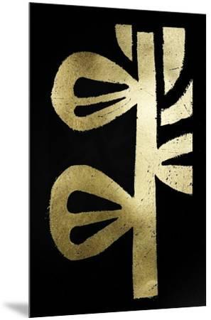 Gold Foil Symbiotic V on Black-June Erica Vess-Mounted Art Print