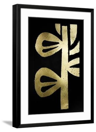 Gold Foil Symbiotic V on Black-June Erica Vess-Framed Art Print