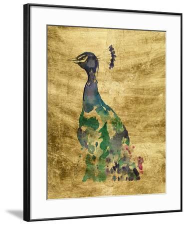 Gilded Peacock Splash II-Jennifer Goldberger-Framed Art Print