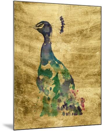 Gilded Peacock Splash II-Jennifer Goldberger-Mounted Art Print