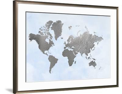 Large Silver Foil World Map on Blue-Jennifer Goldberger-Framed Art Print