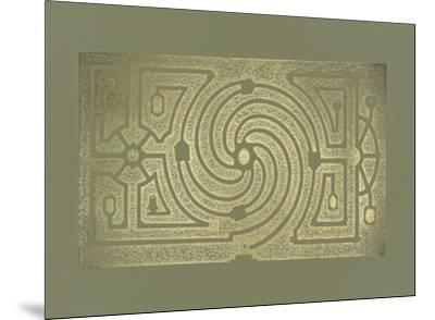 Gold Foil Garden Plan III on Mid Green-DeZallier d'Argenville-Mounted Art Print