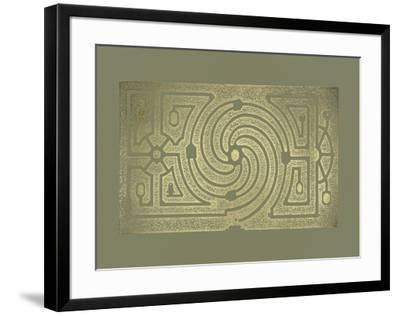 Gold Foil Garden Plan III on Mid Green-DeZallier d'Argenville-Framed Art Print