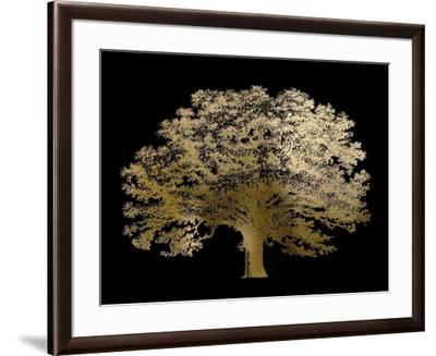 Gold Foil Elephant Tree on Black-Vision Studio-Framed Art Print