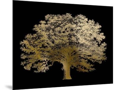 Gold Foil Elephant Tree on Black-Vision Studio-Mounted Art Print