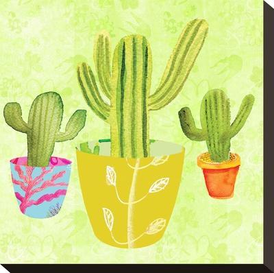 Floral Cacti Pots 2-Kristine Lombardi-Stretched Canvas Print