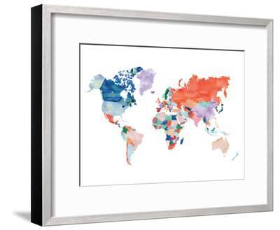 Watercolor World Map-Elena David-Framed Giclee Print