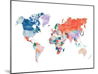 Watercolor World Map-Elena David-Mounted Giclee Print
