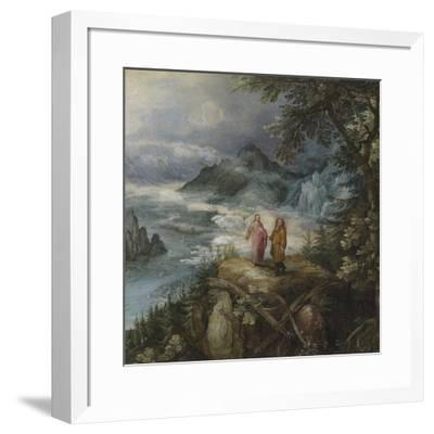 Wide Mountain Landscape with the Temptation of Christ-Pieter Bruegel the Elder-Framed Premium Giclee Print
