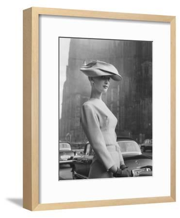 Woman Wearing An Elegant Spiral-Shaped Hat, 1956-The Chelsea Collection-Framed Giclee Print