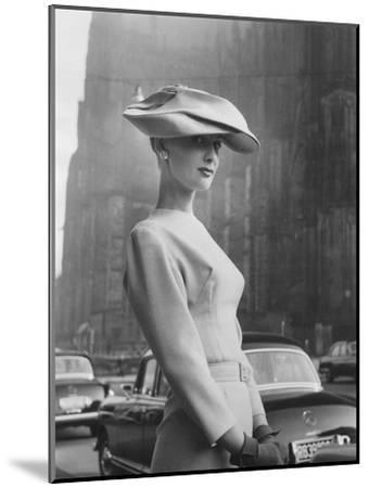 Woman Wearing An Elegant Spiral-Shaped Hat, 1956-The Chelsea Collection-Mounted Giclee Print