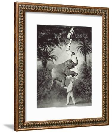 Balancing An Elephant!-The Vintage Collection-Framed Giclee Print