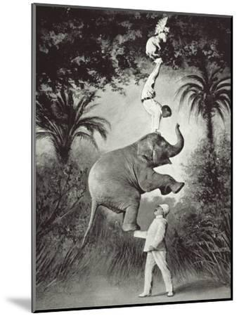 Balancing An Elephant!-The Vintage Collection-Mounted Giclee Print