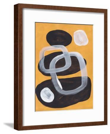 Mustard Mid Century Pebbles-Ejaaz Haniff-Framed Art Print