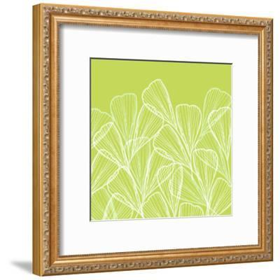 Floral Abstract In Summer Green-Modern Tropical-Framed Art Print