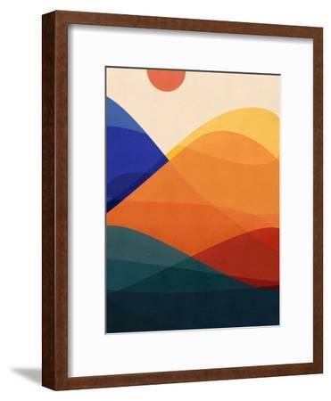 Meditative Mountains-Modern Tropical-Framed Art Print