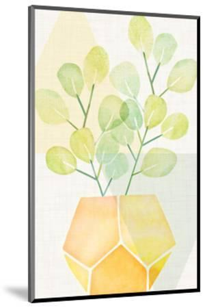 House Plant With Geometrics-Modern Tropical-Mounted Art Print