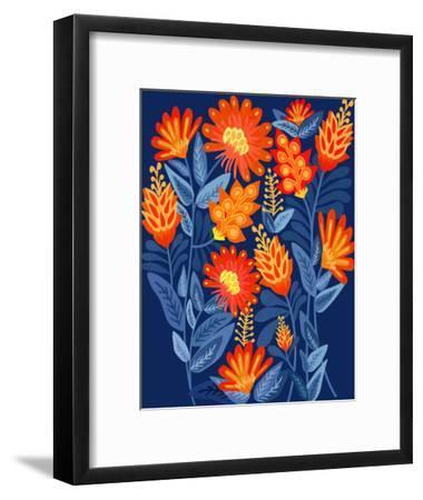 Midnight Garden-Modern Tropical-Framed Art Print
