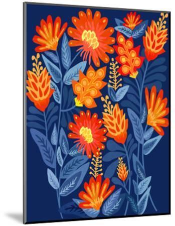 Midnight Garden-Modern Tropical-Mounted Art Print