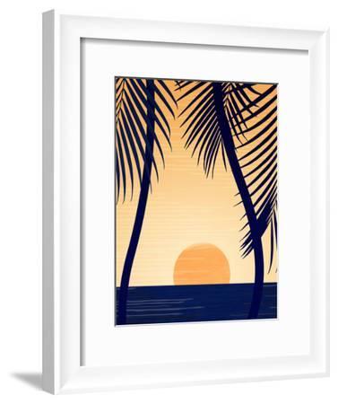 Golden Sunset With Palms-Modern Tropical-Framed Art Print