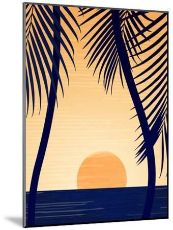 Golden Sunset With Palms-Modern Tropical-Mounted Art Print