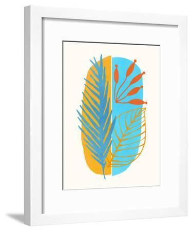 Beach Flora Abstract-Modern Tropical-Framed Art Print