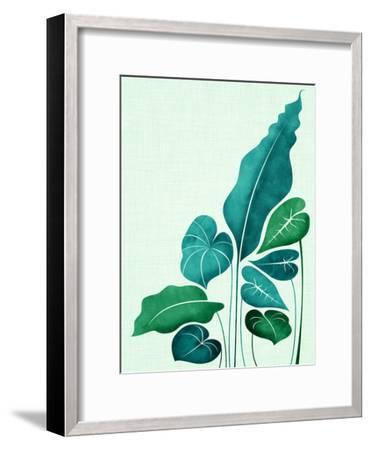 Cacophony In Teal-Modern Tropical-Framed Art Print
