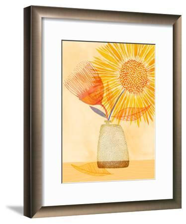 Tuesday Afternoon Sunflowers-Modern Tropical-Framed Art Print