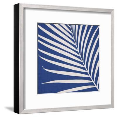 Indigo Palm Leaf-Modern Tropical-Framed Art Print