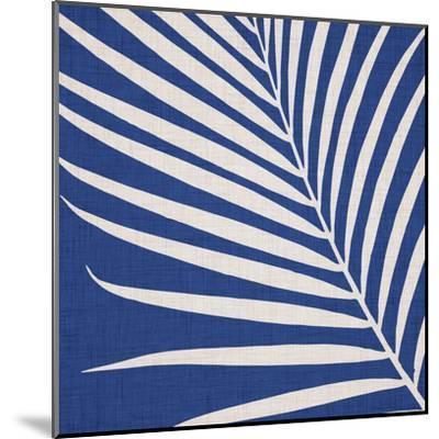 Indigo Palm Leaf-Modern Tropical-Mounted Art Print