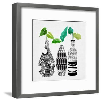 Tribal Vase Trio-Modern Tropical-Framed Art Print