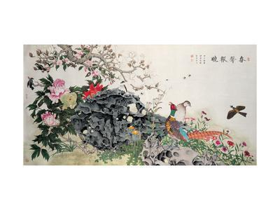 Birds, Peacock and Flowers in Spring-Hsi-Tsun Chang-Framed Giclee Print