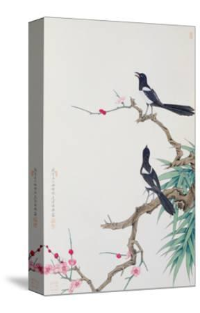Happy Birds in Plum Tree-Hsi-Tsun Chang-Stretched Canvas Print