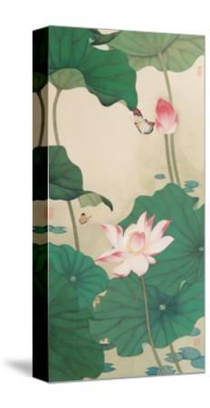 Two Butterflies and Lotuses-Hsi-Tsun Chang-Stretched Canvas Print